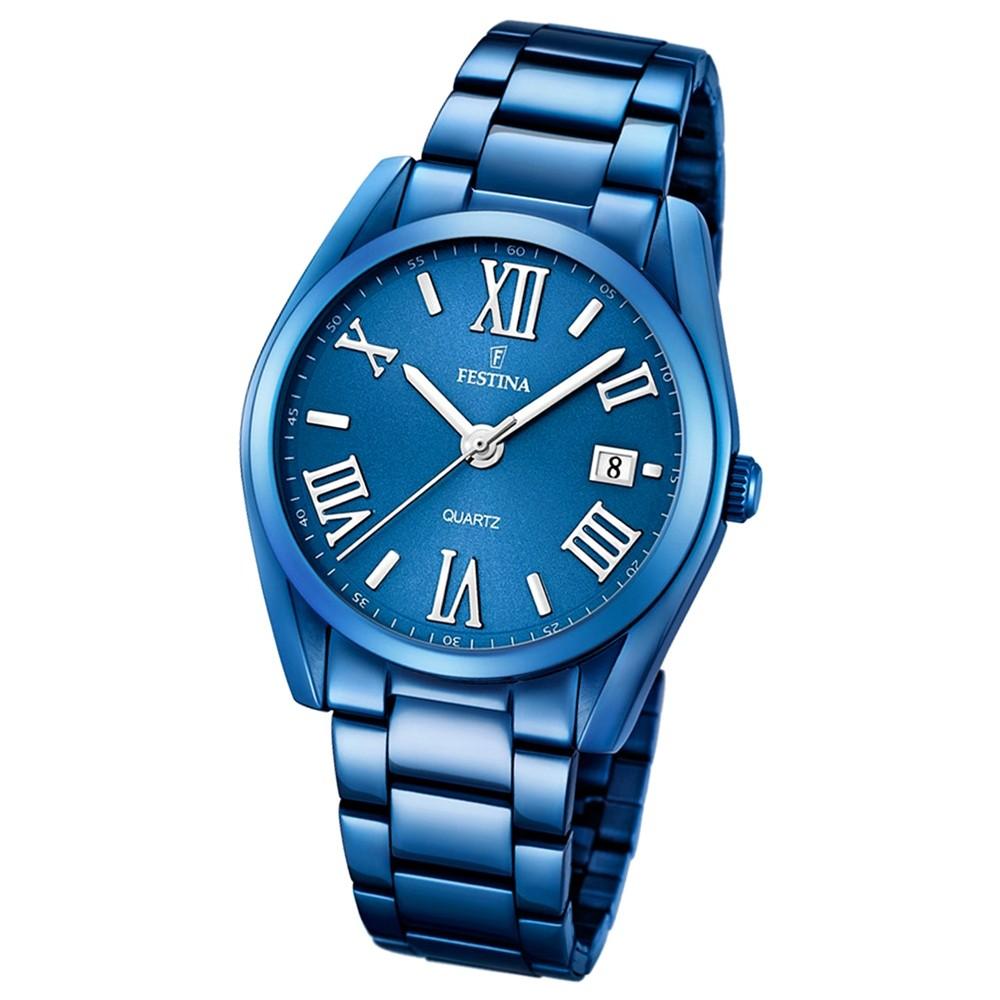 Festina Damen Herren-Armbanduhr Boyfriend analog Quarz edelstahl blau UF16864/3