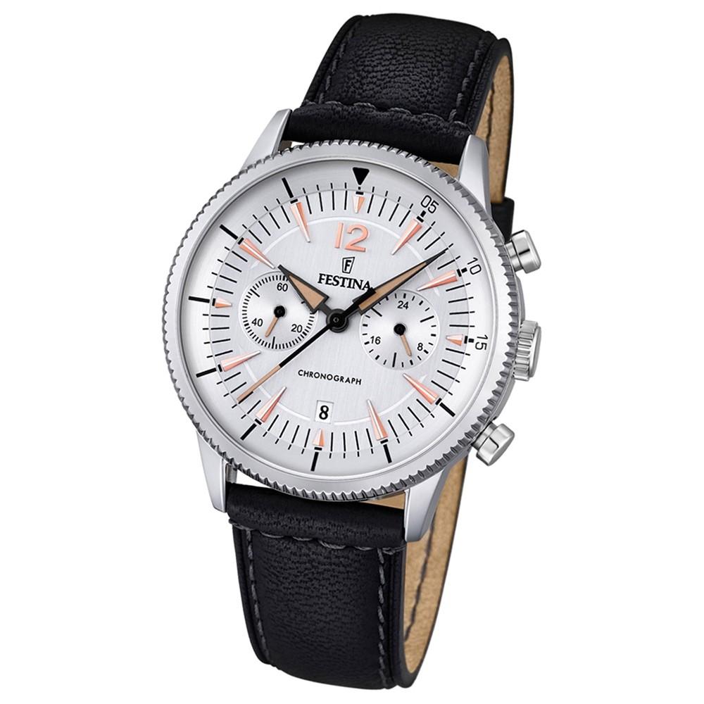 FESTINA Herren-Armbanduhr Retrograde Analog Quarz Leder schwarz UF16870/1