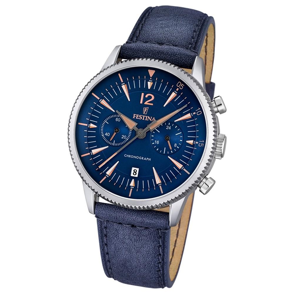 FESTINA Herren-Armbanduhr Retrograde Analog Quarz Leder blau UF16870/2