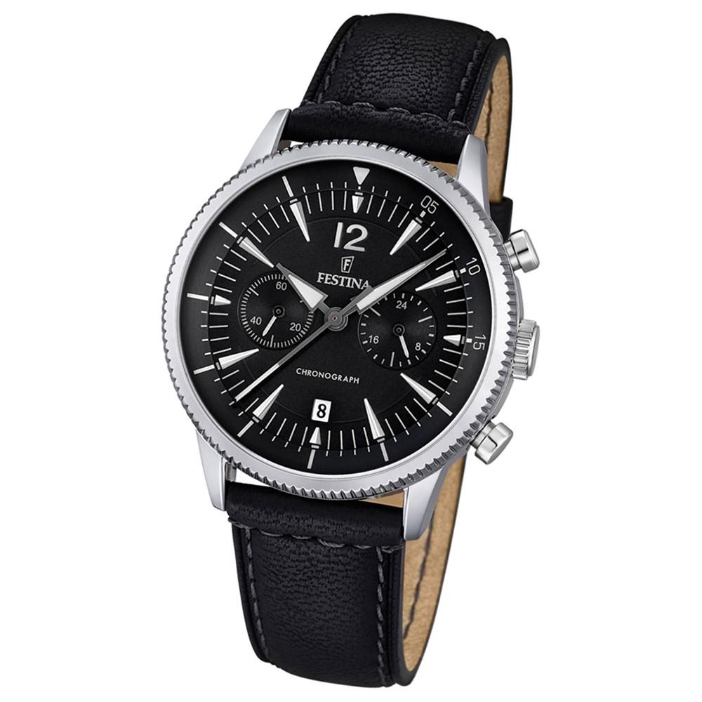 FESTINA Herren-Armbanduhr Retrograde Analog Quarz Leder schwarz UF16870/4