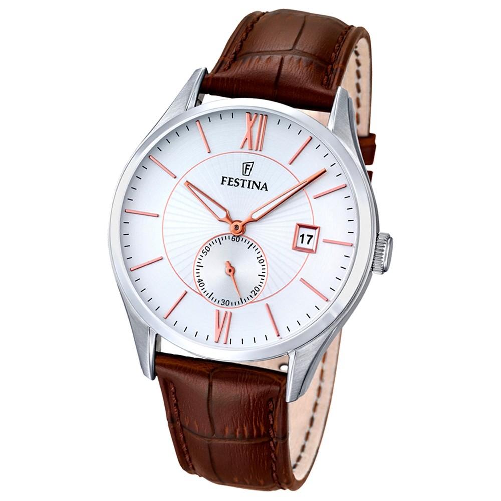 FESTINA Herren-Armbanduhr Retrograde Analog Quarz Leder braun UF16872/2