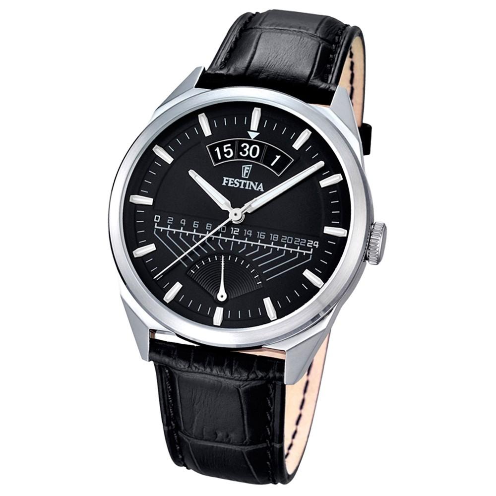 FESTINA Herren-Armbanduhr Retrograde Analog Quarz Leder schwarz UF16873/4