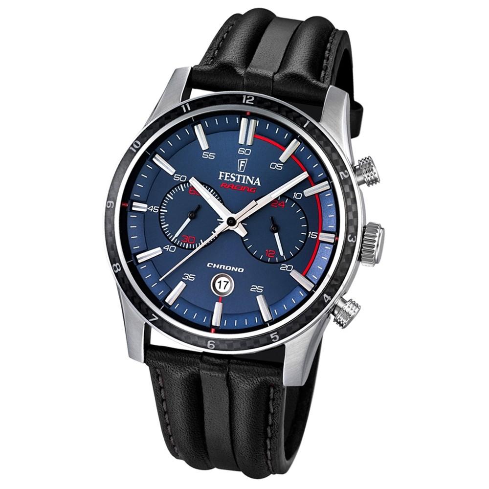 FESTINA Herren-Armbanduhr Timeless Chronograph Quarz Leder schwarz UF16874/2