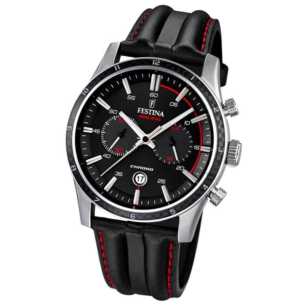 FESTINA Herren-Armbanduhr Timeless Chronograph Quarz Leder schwarz UF16874/4