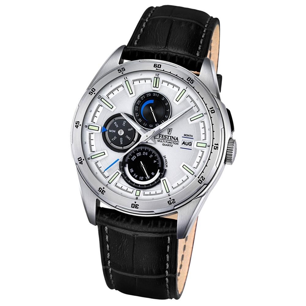 Festina Herren-Armbanduhr Multifunktion analog Quarz-Uhr Leder schwarz UF16877/1