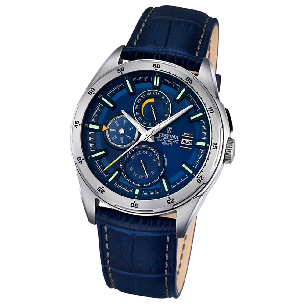 Festina Herren-Armbanduhr Multifunktion analog Quarz-Uhr Leder blau UF16877/2
