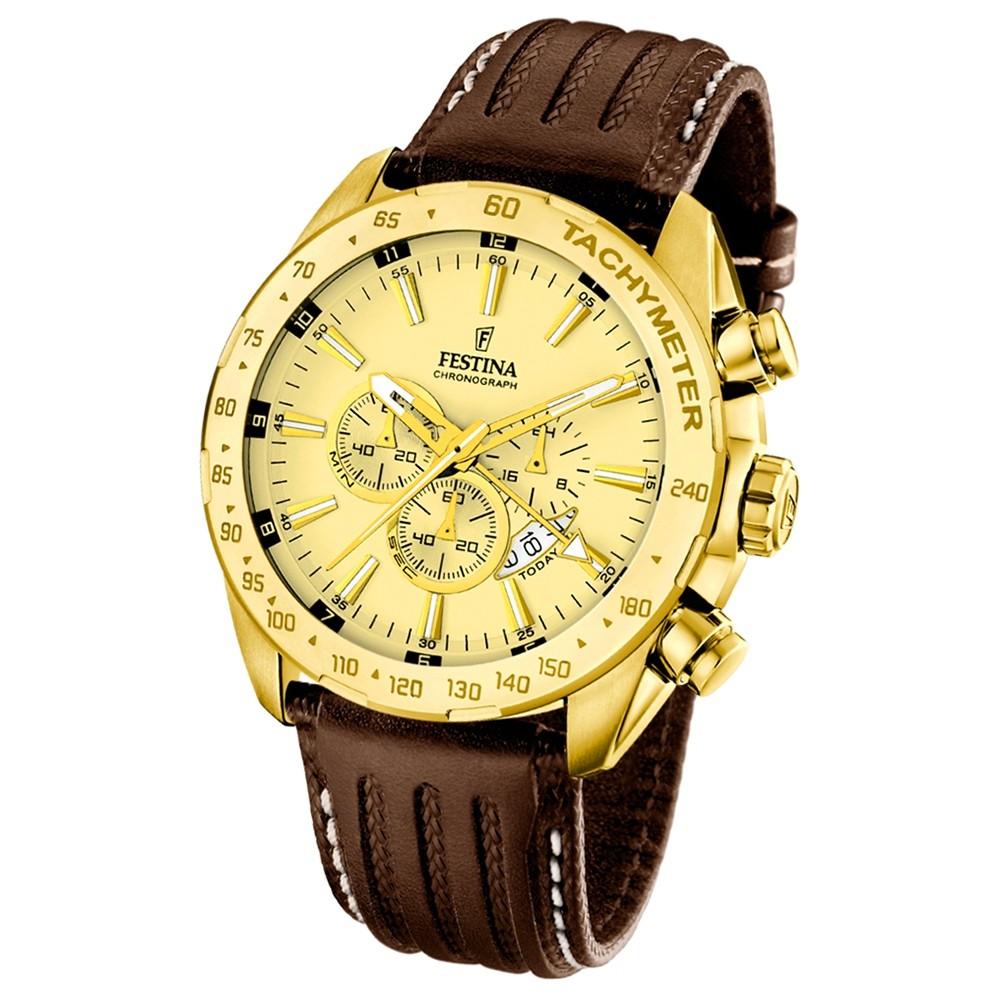 FESTINA Herren-Armbanduhr Chronograph Quarz Leder braun UF16879/2