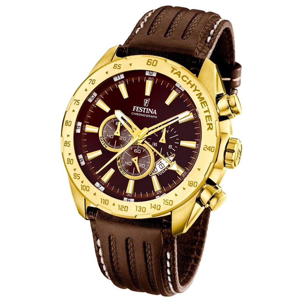 FESTINA Herren-Armbanduhr Chronograph Quarz Leder braun UF16879/3