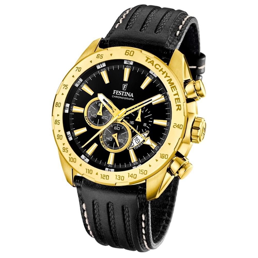 FESTINA Herren-Armbanduhr Chronograph Quarz Leder schwarz UF16879/4