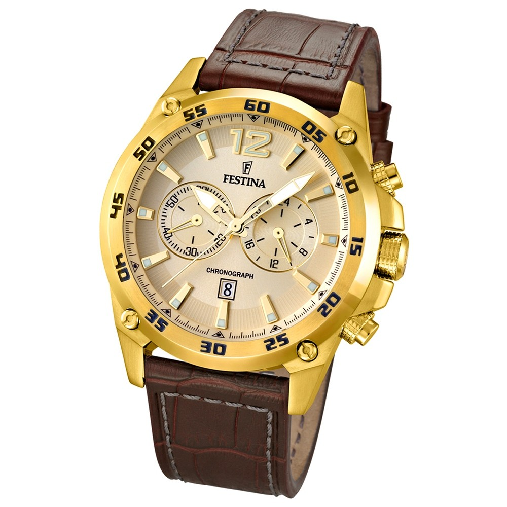 FESTINA Herren-Armbanduhr Chronograph Quarz Leder braun UF16880/1