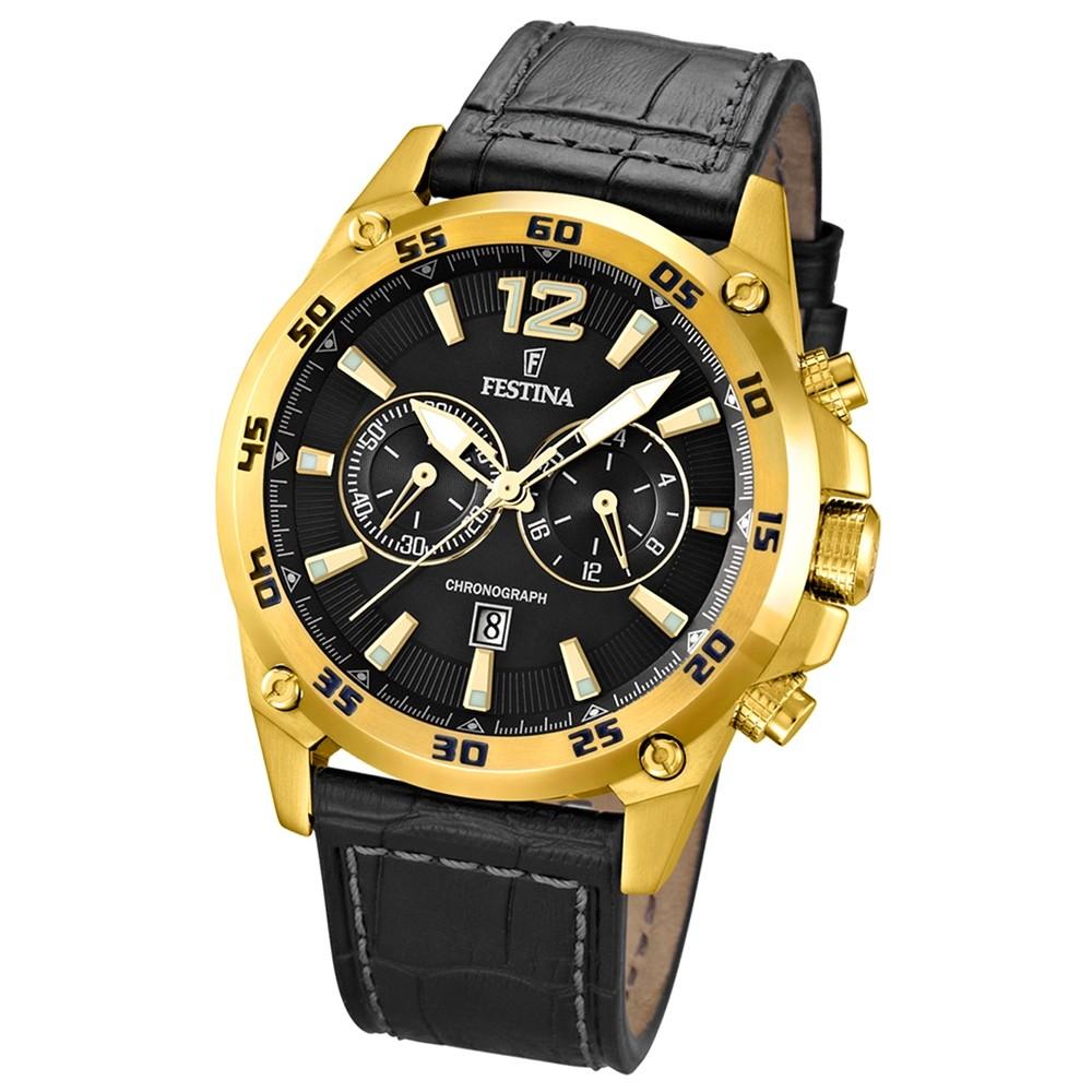 FESTINA Herren-Armbanduhr Chronograph Quarz Leder schwarz UF16880/3