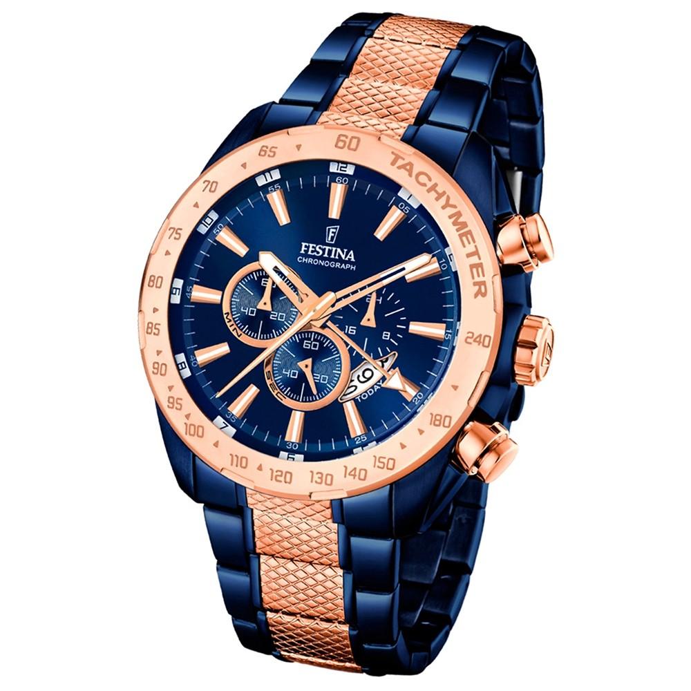 Festina Herren-Uhr Special Edition Chronograph Edelstahl blau rosegold UF16886/1