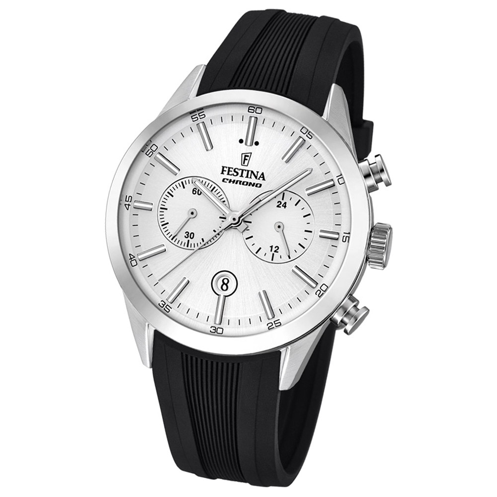 Festina Herren-Armbanduhr Timeless Khrono analog Quarz-Uhr PU schwarz UF16890/1