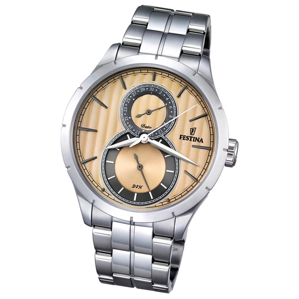 Festina Herren-Uhr beige Journees dAchats analog Quarz Edelstahl UF16891/4