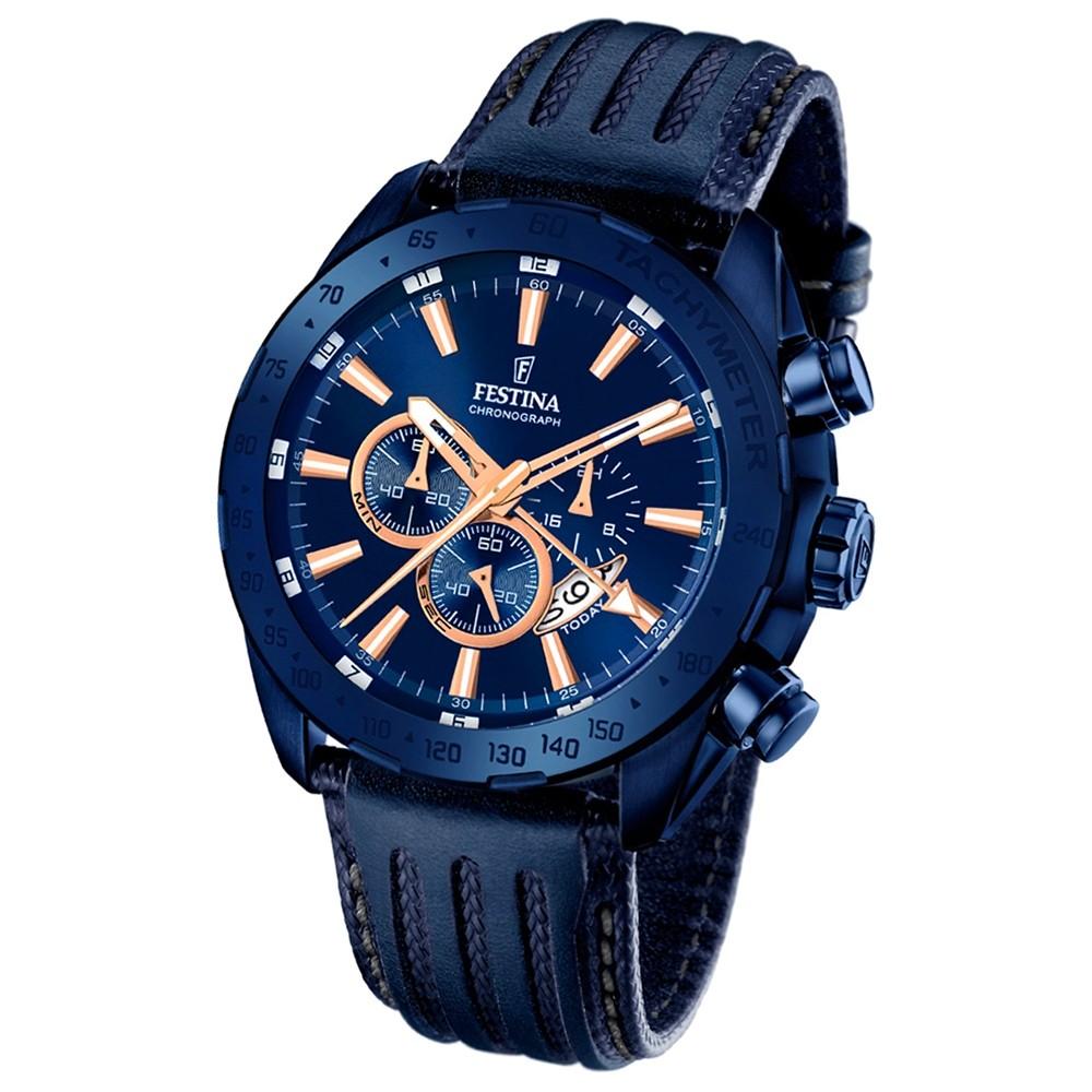 Festina Herren-Armbanduhr Special Edition Chronograph Quarz Leder blau UF16898/1
