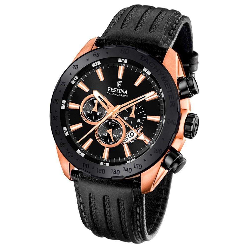 Festina Herren-Uhr Special Edition Chronograph Quarz Leder schwarz UF16900/1
