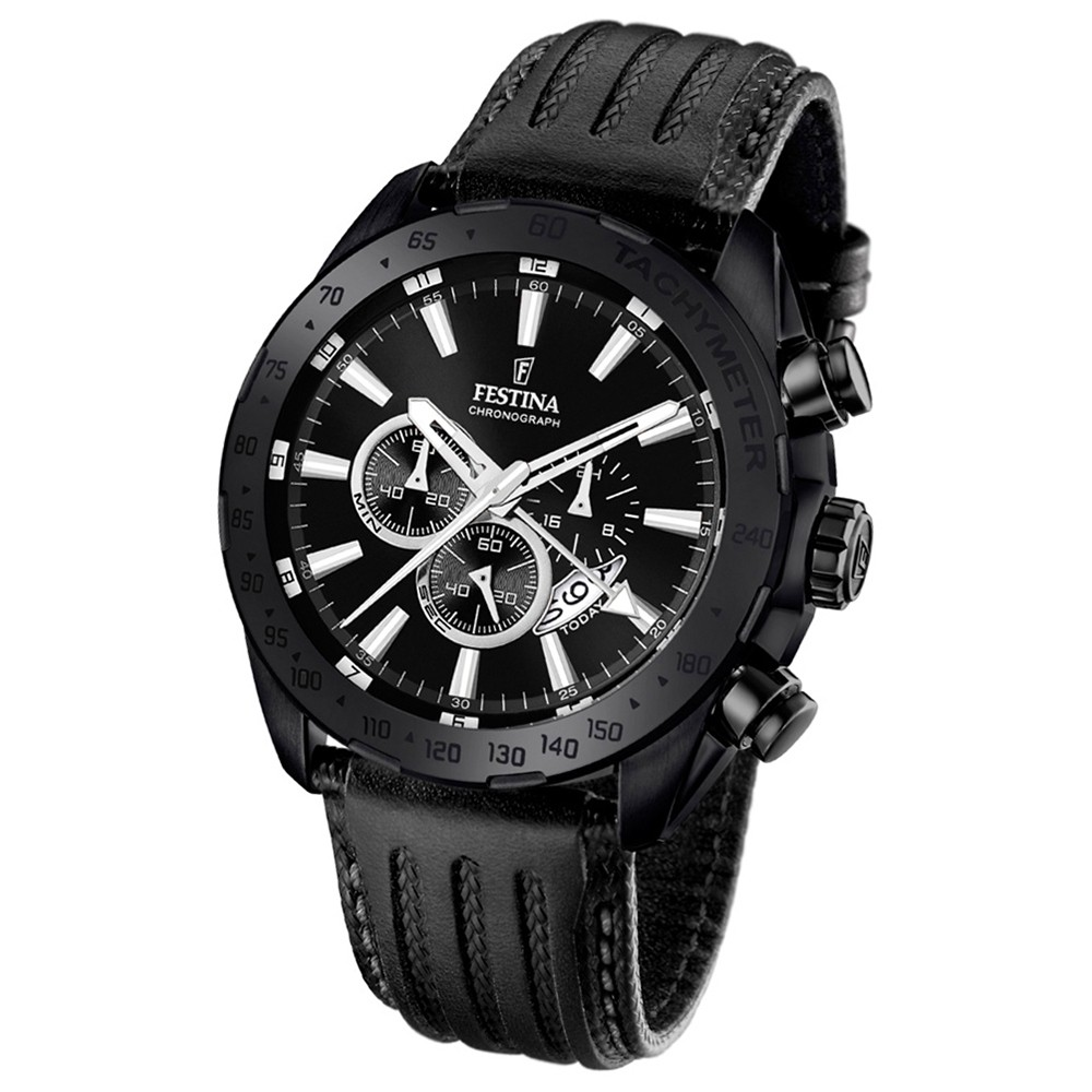 Festina Herren-Armbanduhr Prestige Chronograph Quarz Leder schwarz UF16901/1