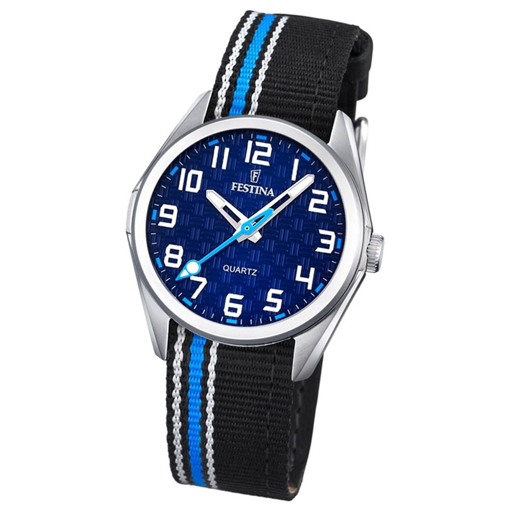 Festina Kinder Jugend-Uhr analog Quarz Leder Textil blau-schwarz UF16904/2