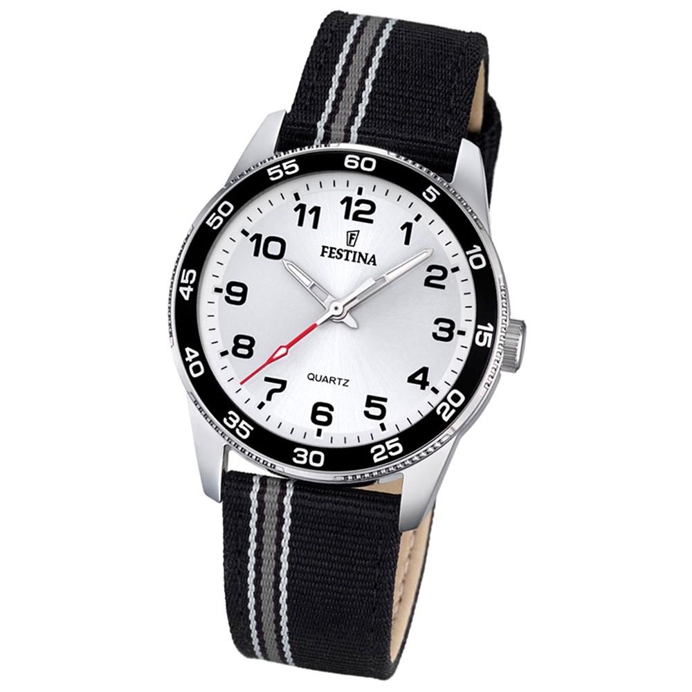 Festina Kinder Jugend-Uhr Junior analog Quarz Leder Textil schwarz UF16906/1