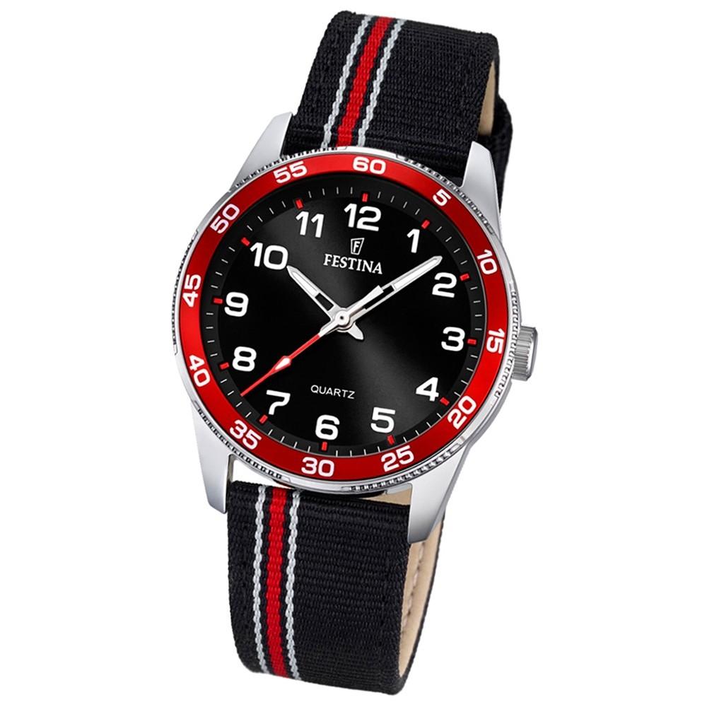 Festina Kinder Jugend-Uhr Junior analog Quarz Leder Textil rot-schwarz UF16906/3