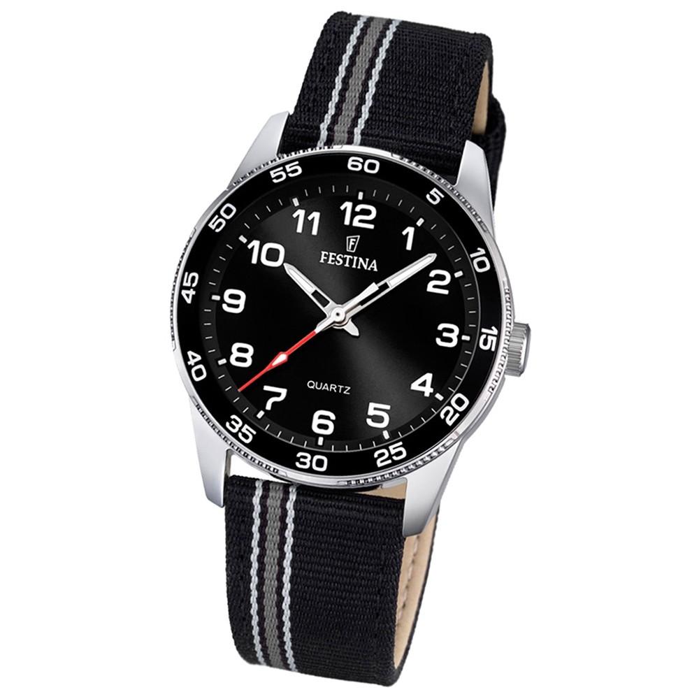 Festina Kinder Jugend-Uhr Junior analog Quarz Leder Textil schwarz UF16906/4