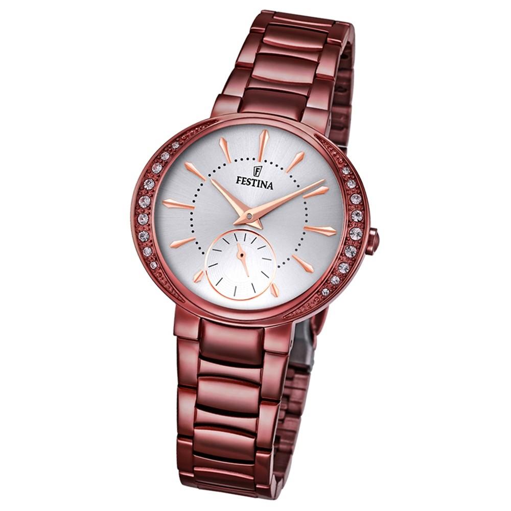 Festina Damen-Armbanduhr Mademoiselle analog Quarz Edelstahl braun UF16912/1