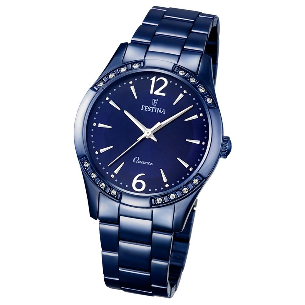 Festina Damen-Armbanduhr Boyfriend analog Quarz Edelstahl blau UF16915/1