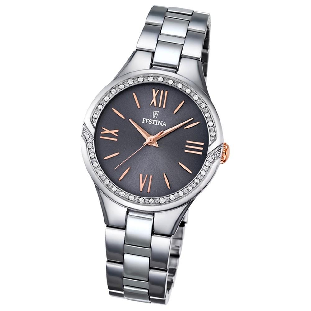 Festina Damen-Armbanduhr Mademoiselle analog Quarz Edelstahl silber UF16916/2