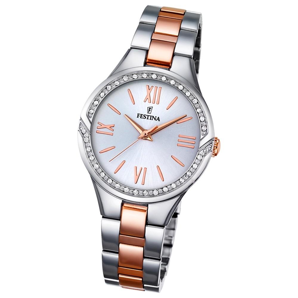 Festina Damen-Uhr Mademoiselle analog Quarz Edelstahl silber rosegold UF16917/1