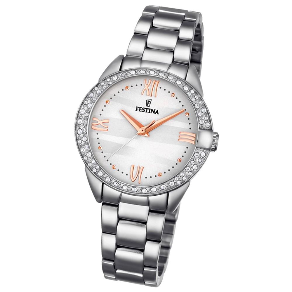 Festina Damen-Armbanduhr Glitzersteine analog Quarz Edelstahl UF16919/1