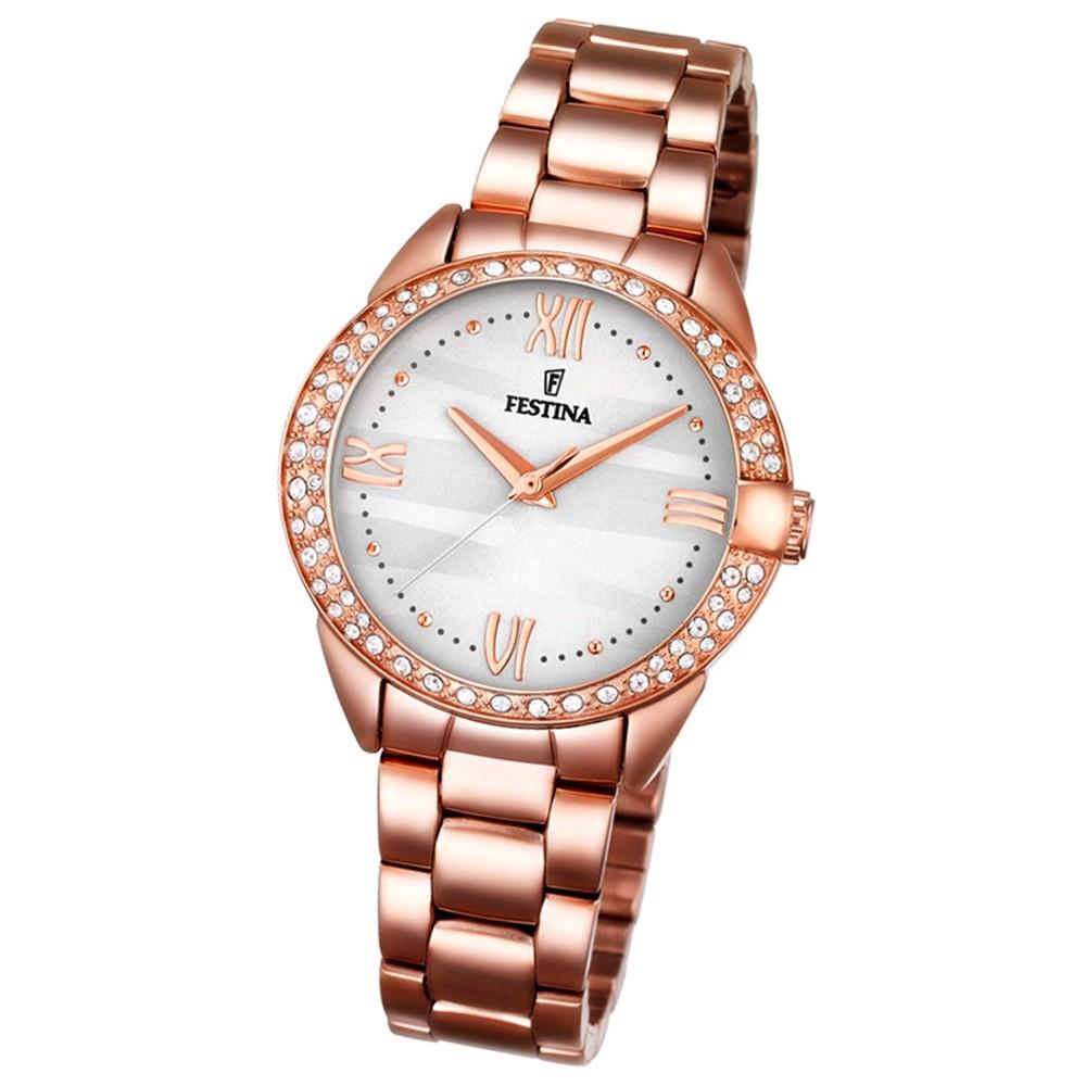 Festina Damen-Armbanduhr Glitzersteine analog Quarz Edelstahl UF16920/1