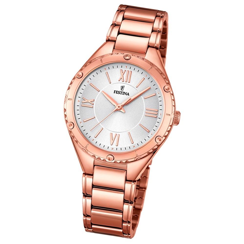 Festina Damen-Armbanduhr rosegold analog Quarz Edelstahl UF16922/1