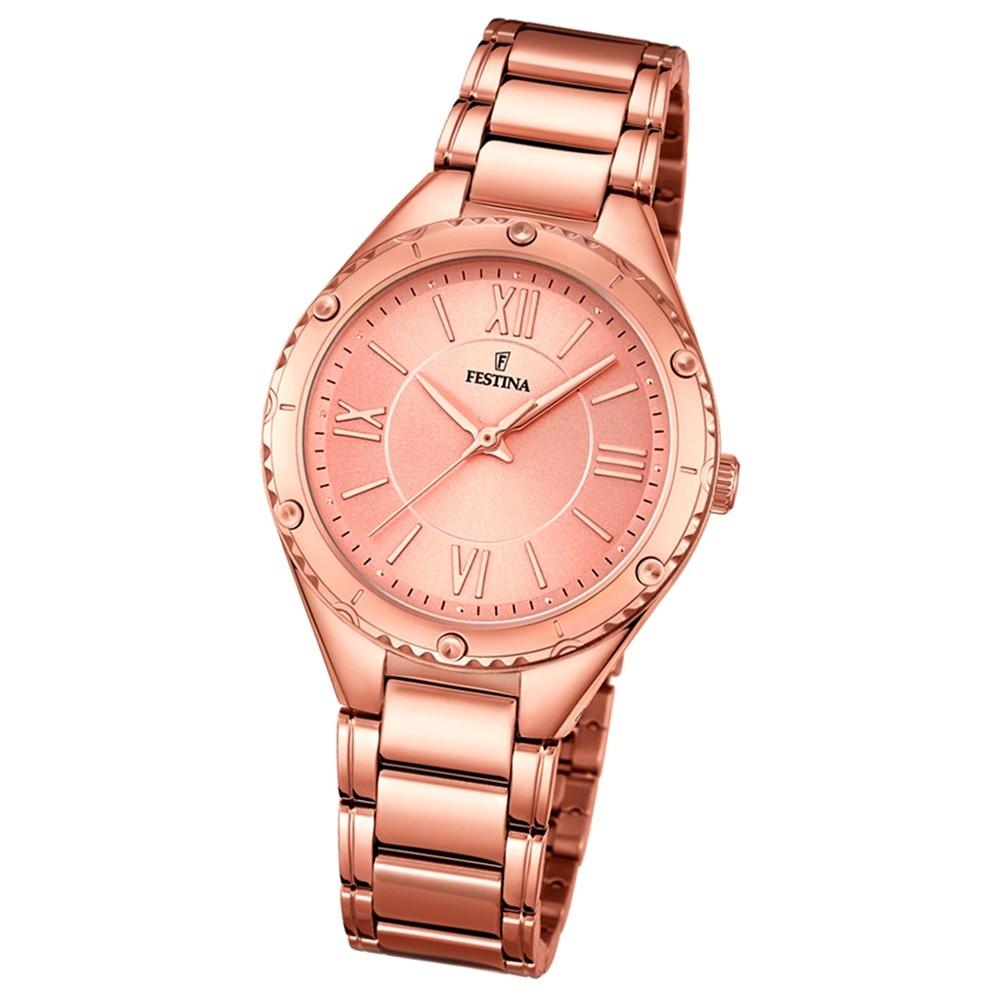 Festina Damen-Armbanduhr rosegold analog Quarz Edelstahl UF16922/2