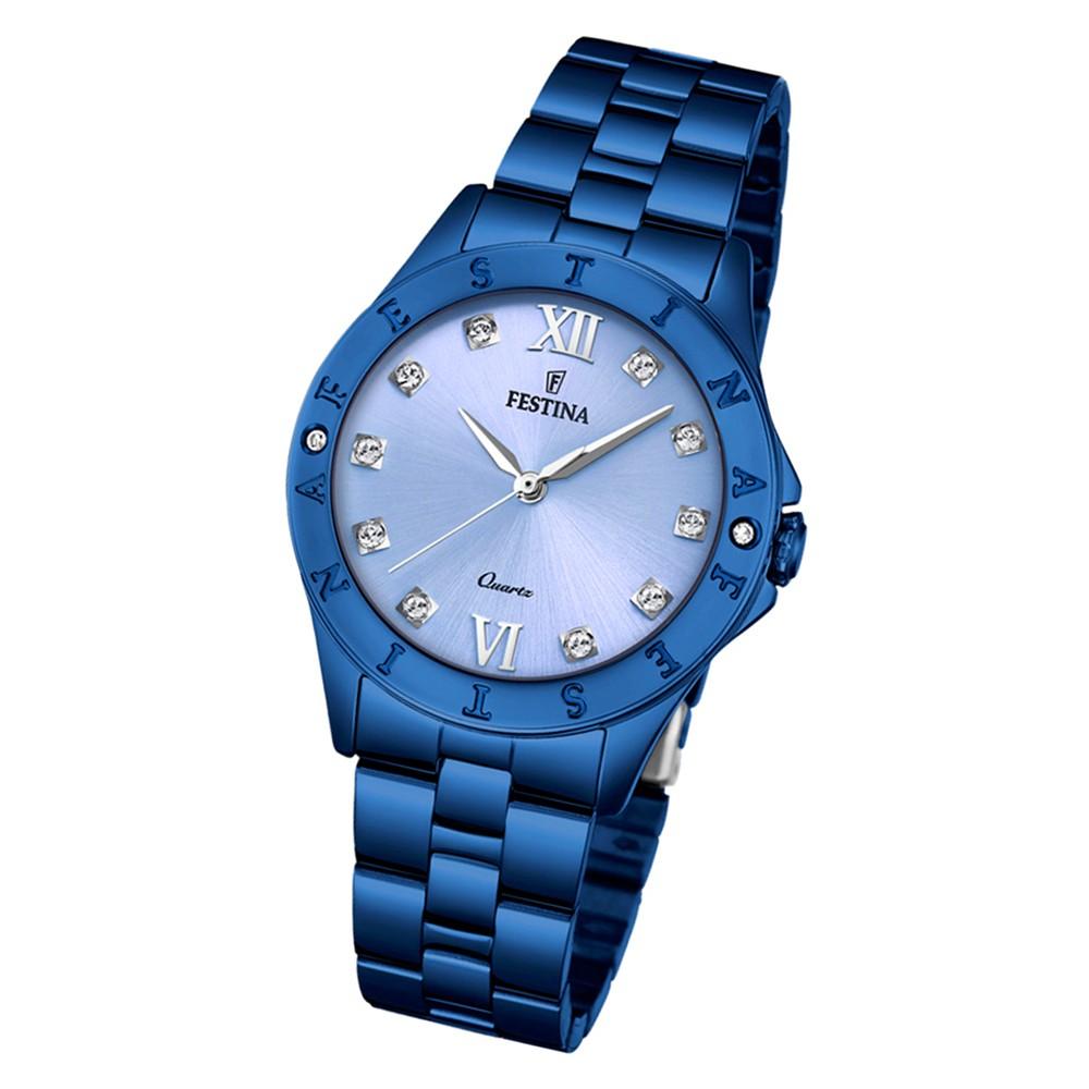 Festina Damen Armbanduhr Boyfriend F16927/A Quarz Edelstahl blau UF16927/A