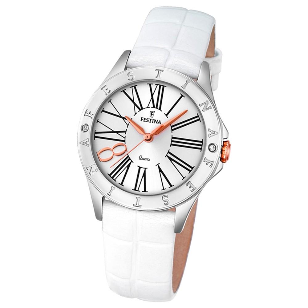 Festina Damen-Armbanduhr Journees dAchats analog Quarz Leder weiß UF16929/1