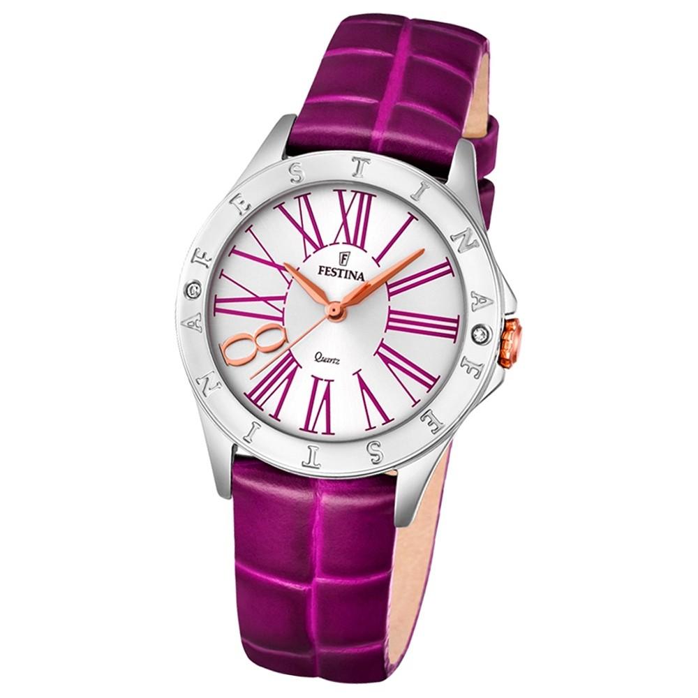 Festina Damen-Armbanduhr Journees dAchats analog Quarz Leder lila UF16929/2