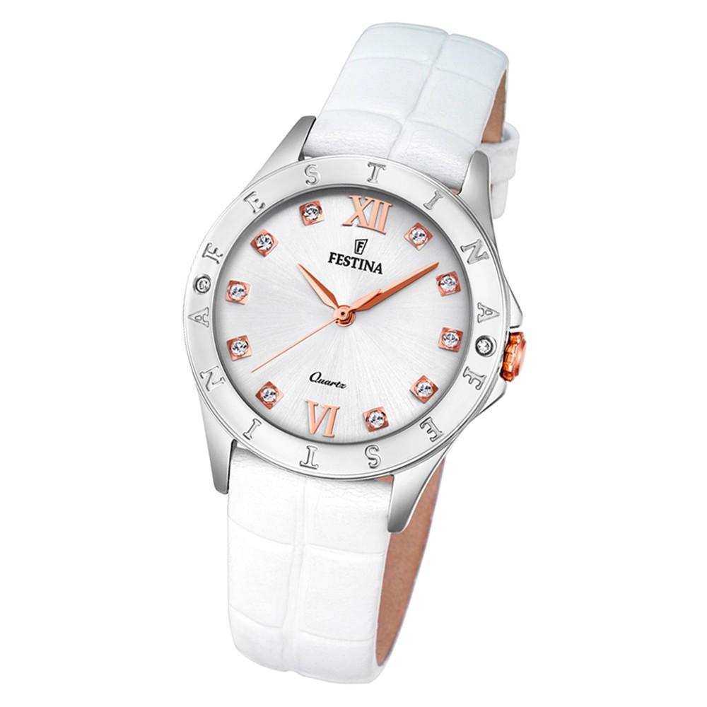 Festina Damen Armbanduhr Boyfriend F16929/A Quarz Leder weiß UF16929/A