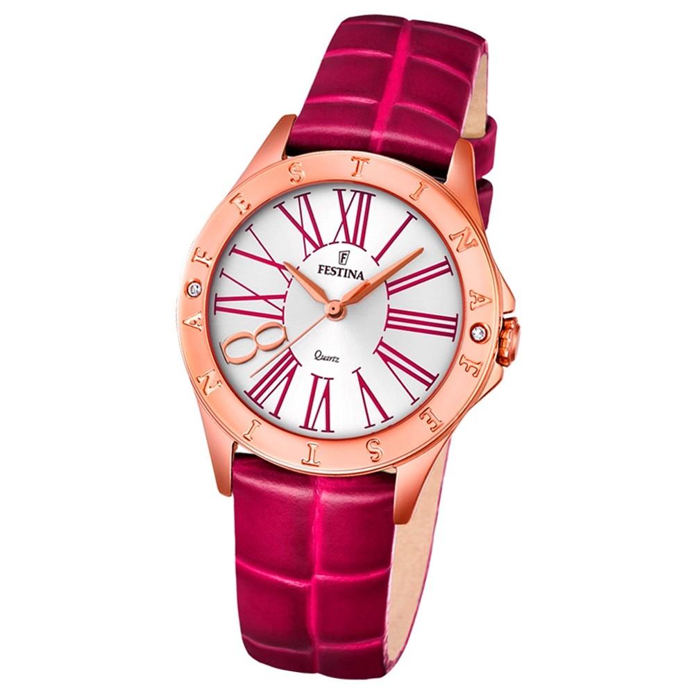 Festina Damen-Armbanduhr Journees dAchats analog Quarz Leder pink UF16930/2