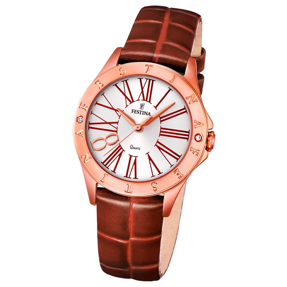 Festina Damen-Armbanduhr Journees dAchats analog Quarz Leder braun UF16930/3
