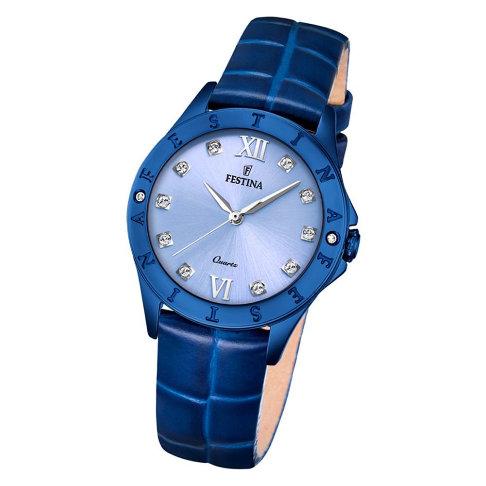 Festina Damen Armbanduhr Boyfriend F16931/B Quarz Leder blau UF16931/B