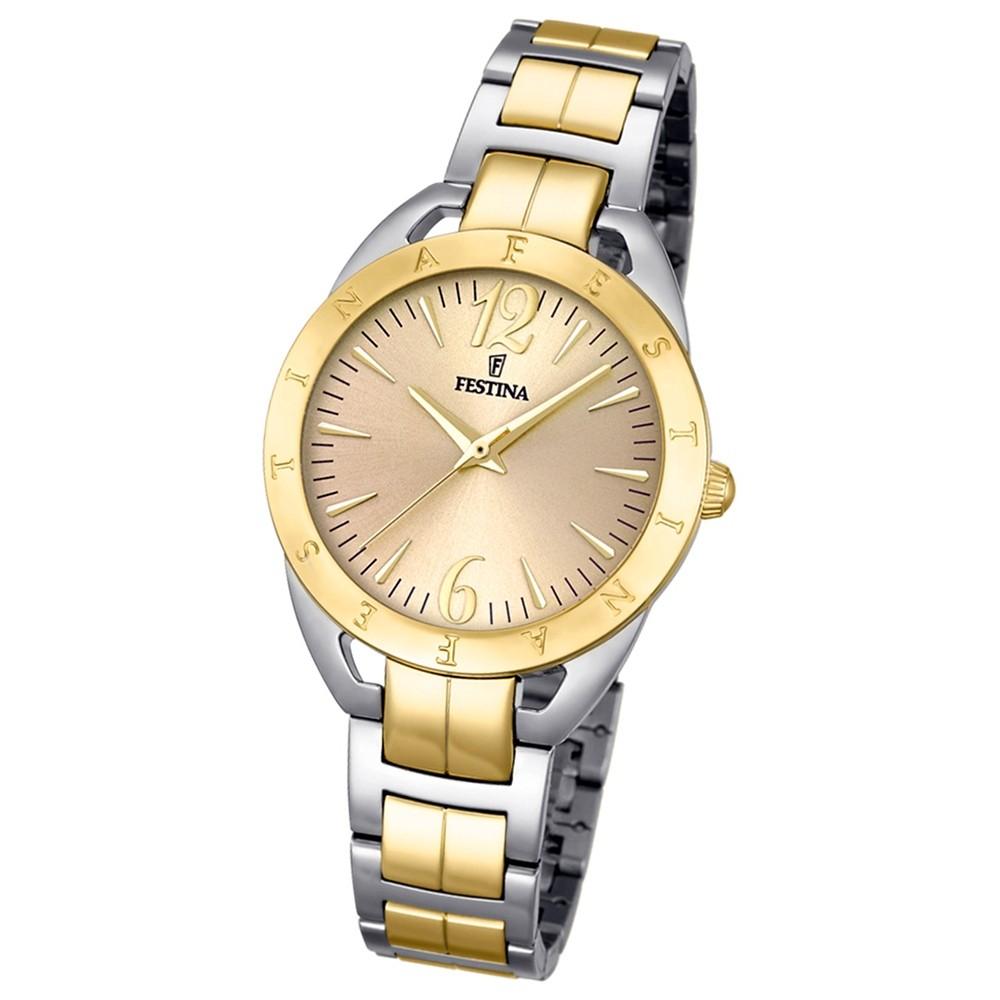 Festina Damen-Uhr Mademoiselle analog Quarz Edelstahl silber gold UF16933/1