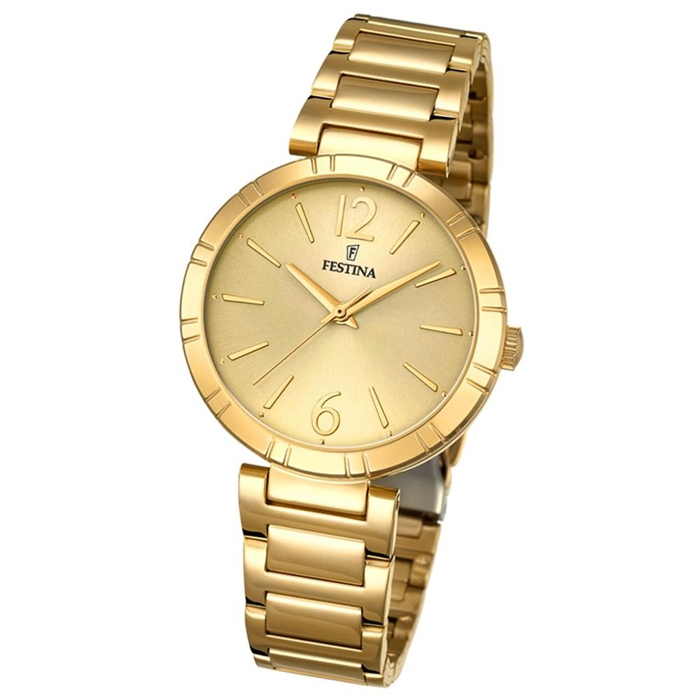 Festina Damen-Armbanduhr Mademoiselle analog Quarz Edelstahl gold UF16938/1