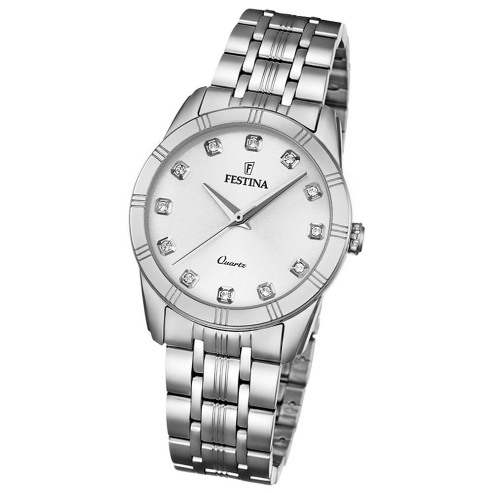 Festina Damen-Armbanduhr Boyfriend analog Quarz Edelstahl silber UF16940/1