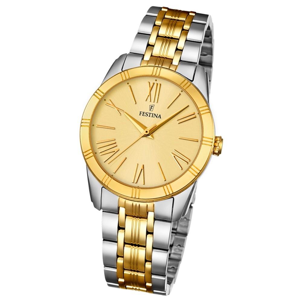 Festina Damen-Armbanduhr Boyfriend analog Quarz Edelstahl silber gold UF16941/1