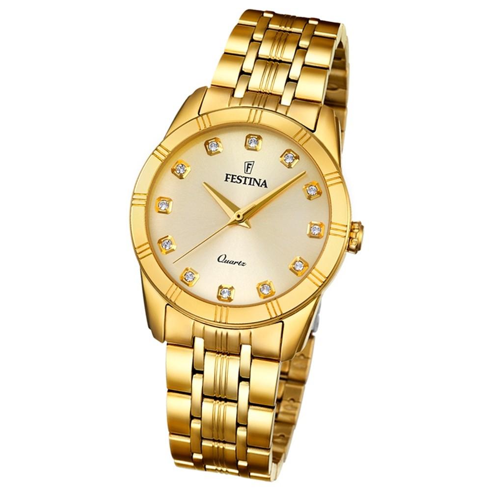 Festina Damen-Armbanduhr Boyfriend analog Quarz Edelstahl gold UF16942/1