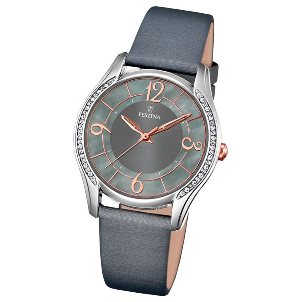 Festina Damen-Uhr Mademoiselle analog Quarz Leder Textil anthrazit UF16944/2