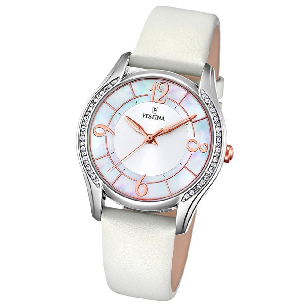 FESTINA Damen-Armbanduhr Mademoiselle F16944/A Quarz Leder/Textil weiß UF16944/A