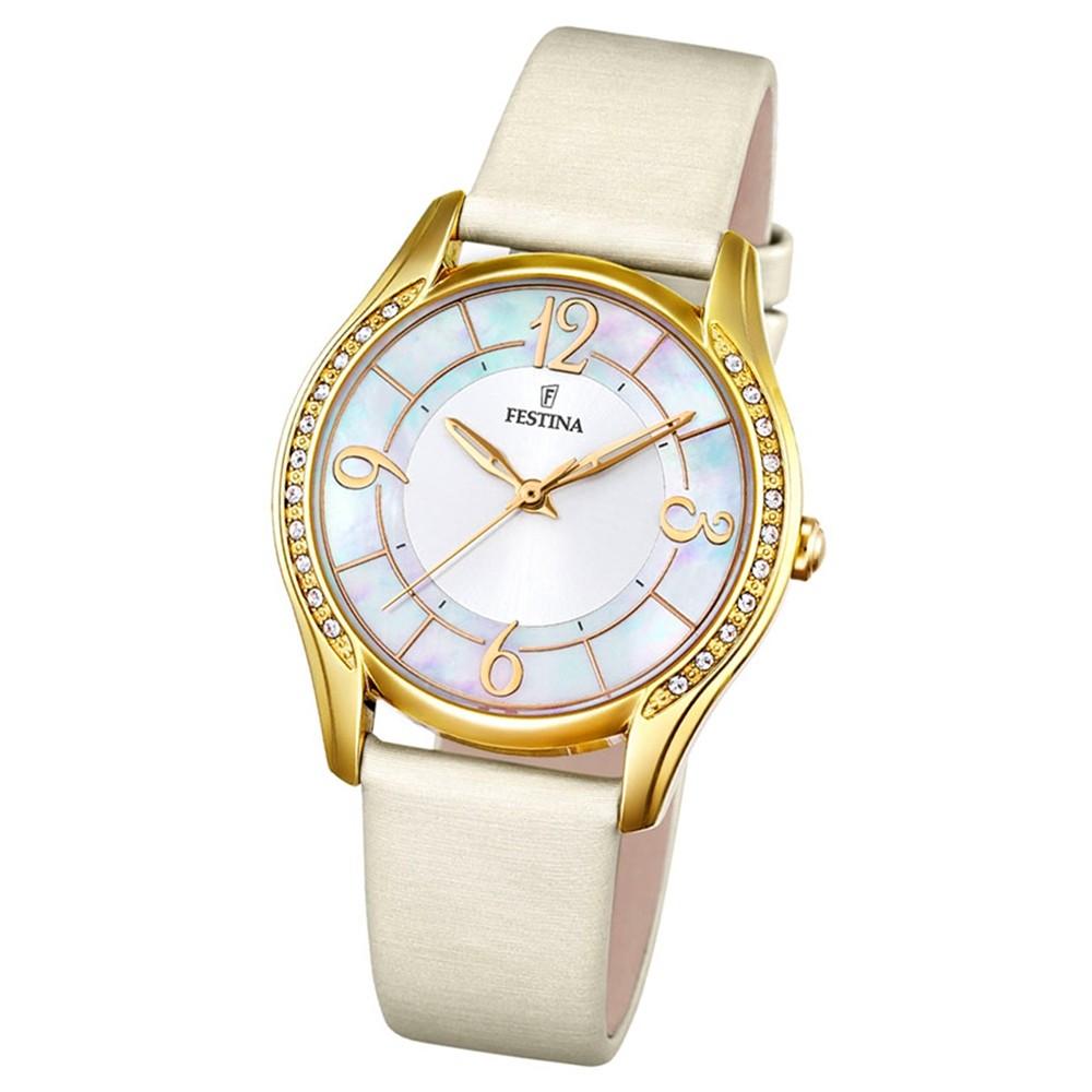 Festina Damen-Armbanduhr Mademoiselle analog Quarz Leder Textil creme UF16945/1