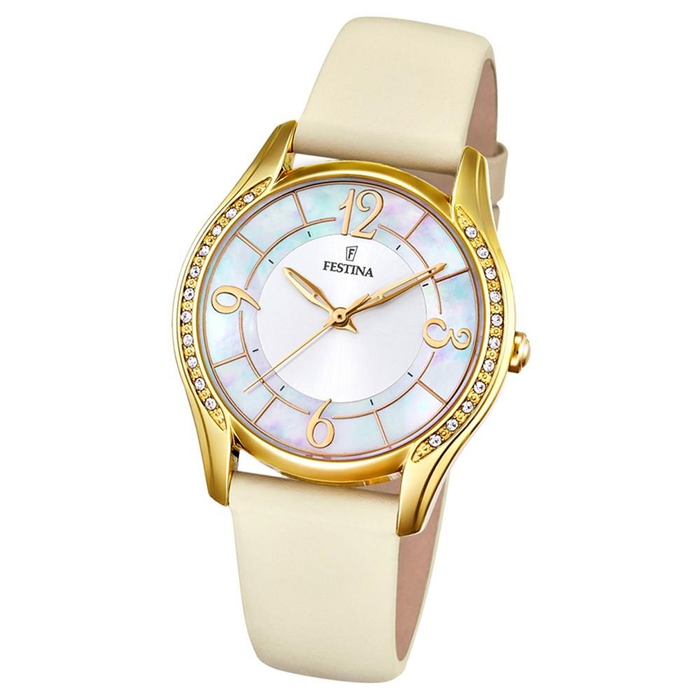 FESTINA Damen-Armbanduhr Mademoiselle F16945/A Quarz Leder creme UF16945/A