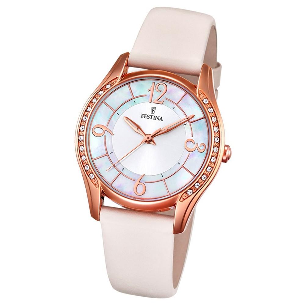 FESTINA Damen-Armbanduhr Mademoiselle F16946/A Quarz Leder rosè UF16946/A